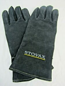 Stovax 34 cm Heat resistant suede black gloves fire stove BBQ Good condition E1