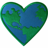 Green Peace Earth World Love Heart Patch Iron Sew On Clothes  Embroidered Badge