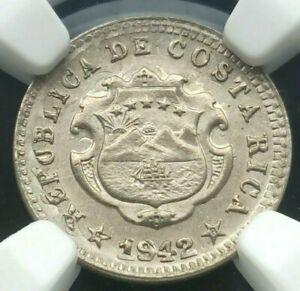 Costa Rica: 5 Centimos 1942 BN Overstruck On 1903 2 Centimos, NGC MS 64, KM# 178