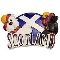 Scotland Fridge Magnet - 2 Scottish Dogs, Scottish terrier with Hats Souvenir