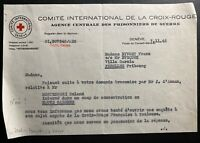 1945 Geneva Switzerland Red Cross Letter Cover To Concentration Camp Garonne