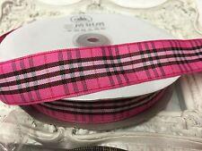 1 Metre Deep Pink Tartan Plaid Print Ribbon 22mm Cakes Bow Dummy
