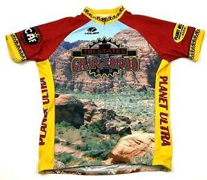 VINTAGE Gran Fondo Cycle Jersey Size Extra Large XL Adult 1/2 Zip Shirt Raglan