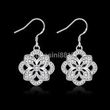 New Women Silver Plated Cubic Zircon Flower Dangle Hook Earrings Fashion Jewelry