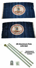 3x5 State of Virginia 2ply Flag Aluminum Pole Kit Ball Top 3'x5'