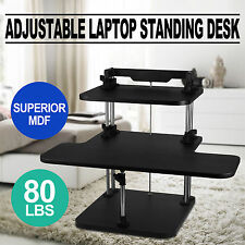 3 Tier Adjustable Computer Standing Desk Stand Up Superior MDF Sit/Stand POPULAR