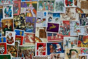 Christmas Postage Stamps for Crafting/ Junk Journal/ Collecting/ Scrapbook x 40
