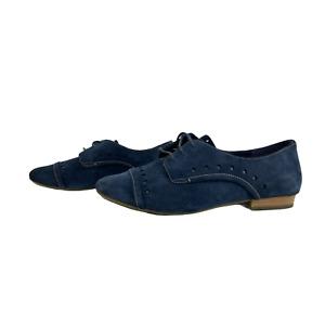 CLARKS ACTIVE AIR Ladies Women Shoes Size 4E EU 37 Navy Suede Lace up Flats Wide
