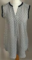 H&M Size Euro 38 Ladies Sleeveless White Top With Black Print Detail