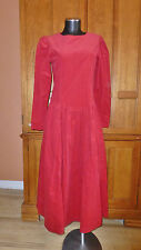 LAURA ASHLEY Vtg RED Corduroy Cotton Victorian Country Boho DRESS UK 10 US 6