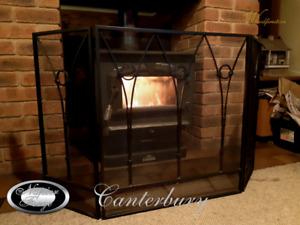FIRE SCREEN / GUARD SHIELD / FIREPLACE FIRESCREEN / WROUGHT IRON 3 PANEL Canter