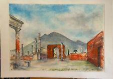 Franz Ehmke 1928 -2018° Italy Ruins Pompeii° Pastel Signed Italy