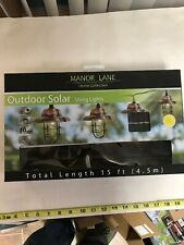 Manor Lane Outdoor Solar Led Lights 15' Length Lantern Look New 10 Light String