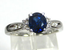 Certified Blue Sapphire Ring 14K White Gold Solitaire GIA Heirloom Free $3,527