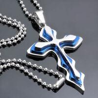 Kreuz Blau Herren Damen Schmuck Kugelkette Halskette 50 cm Silber Edelstahl Neu