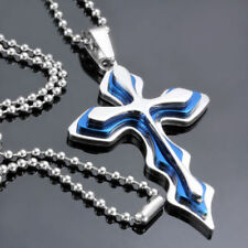Cruz Azul Hombre Mujeres Joya cadena bolas Collar 50cm Plata Acero NUEVO