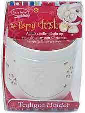 Fizzy Moon HAPPY CHRISTMAS Novelty Christmas Ceramic Tealight Holder Inc Candle