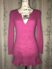 Subtle Luxury 2-Ply 100% Cashmere Toxic Pink Y-Neck Sweater 3/4 Sleeve Size S/M