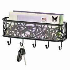 mDesign Letter Holder Organizer with Key Rack for Entryway, Kitchen - Wall Mount