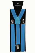 Blue Adjustable Braces Suspenders Mens Women Fancy Dress Clip On Slim 2.5