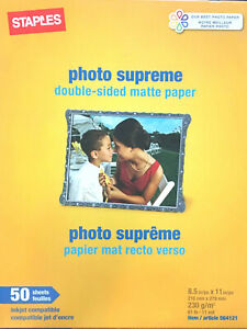 *Staples Photo Supreme double sided matte paper 50 sheets ink jet printers