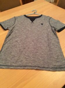 boys clothes 11-12 years F&F Navy Blue Flecked Cotton Short Sleeved Top T-Shirt