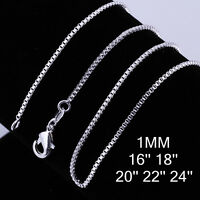 "New 925 Sterling Silver Filled 1MM Chain Necklace For Pendants 18"" 20"" 22"" 24"""