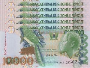 LOT, Sao Tomé/St. Thomas 10,000 Dobras (31.12.2013) p66d x 5 PCS UNC