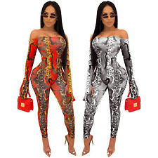Women Snakeskin Printed Boat Neck Off Shoulder Long Sleeves Bodycon Jumpsuit 2pc