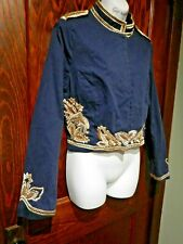 AUTHENTIC ICON navy gold embroidered cropped militant jacket steampunk circus 3A