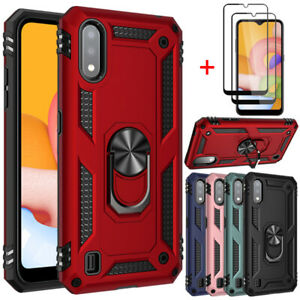 For Samsung Galaxy A01 Case Shockproof Hard Cover+Full Tempered Glass Protector