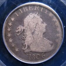 1806 DRAPED BUST QUARTER PCGS GOOD 06 EVEN MEDIUM GREY WITH LIGHTER DEVICES