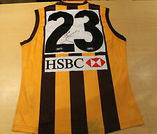 HAWTHORN - LANCE FRANKLIN HAND SIGNED MATCH WORN JERSEY  + C.O.A & PHOTO PROOF