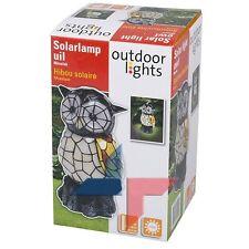 LAMPE HIBOU MOSAIQUE SOLAIRE SANS FIL STYLE TIFFANY RECHARGEABLE JARDIN NEUF 20