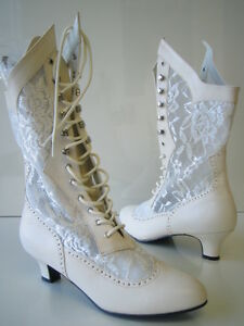 VICTORIAN GRANNY LACE HIGH BOOTS WESTERN SALOON GIRL STEAMPUNK COSTUME BOOTS