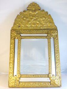 "23"" Tall Antique 1880 Large French Beveled Mirror Brass Overlay Wood Repousse"