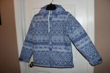 girls COLUMBIA Blue patterned reflective SKI JACKET sz 10 12 w/ hood