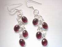 Garnet Cluster 925 Sterling Silver Dangle Earrings