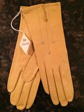 Vintage Fownes England 801 Women's Yellow Leather Gloves - Size 6 1/2 Orig Tags