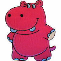 Embroidered Hippo Iron On Badge Sew On Patch Hippopotamus Embroidery Applique