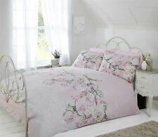 BIRD BRANCH FLORAL LACE PRINT PINK BEIGE GREY DOUBLE DUVET COVER 200X200CM