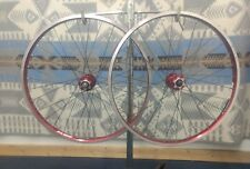 "26"" Mountain Bike Wheels Redline 6 Bolt Disc Red Anodized rims Alexrims DM 24"