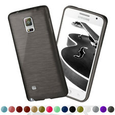 Silicone Case For Samsung Galaxy Note 4 Brushed Steel Aluminium Look TPU Cases