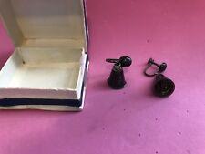 Vintage Pair Of Siam Sterling Silver Screw Back Bell Earrings
