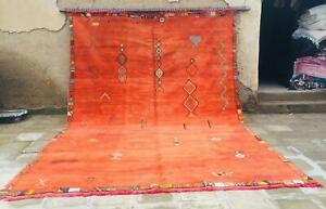 Azilal Orange Rare Boujaad Vintage Rug Carpet handmade Wool Berber 9″x12″ feet