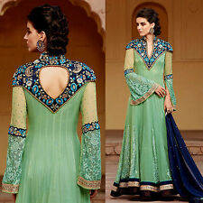 AQUAMARINE NET DESIGNER ANARKALI SALWAR KAMEEZ SUIT DRESS MATERIAL LADIES DEN