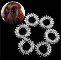 6*Durable Elastic Hair Ties Clear Extendable Coiled Telephone Wire Rings