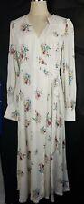 Steele Bellflower Maxi Wrap Dress Size L Boho Hippy White Floral Viscose Rayon