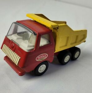"""Vintage 1960s Tonka 5"""" Red & Yellow Dump Truck Pressed Steel 5 Inches"""