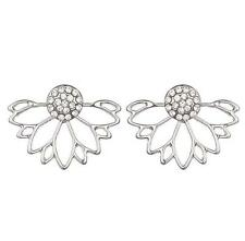 Womens Elegant Flower Lotus Crystal Ear Jacket Stud Earring Fashion Jewelry